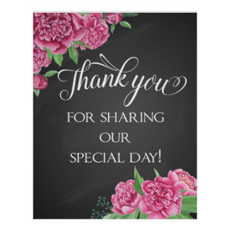 Thank you floral pink peony wedding chalkboard poster