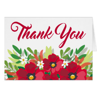 Thank You Floral Watercolor Red Burgundy Flower Card