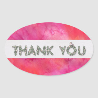 Thank You Floral with Bright Background Oval Sticker