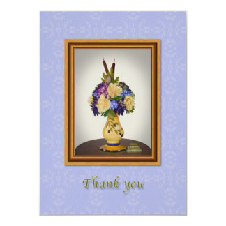 Thank You, Flowers in Yellow Vase Card 11 Cm X 16 Cm Invitation Card