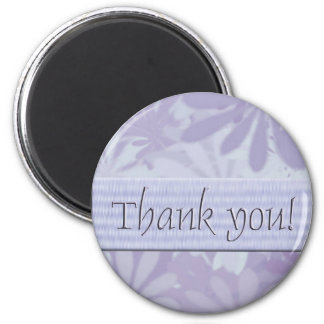 Thank you/flowers purple 6 cm round magnet