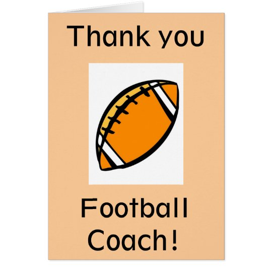 Thank you football coach card