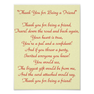 Thank You for Being a Friend - Print