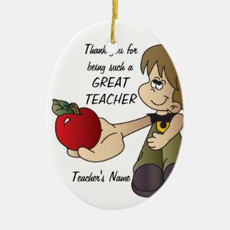 Thank You for Being a Teacher Ornament - Boy