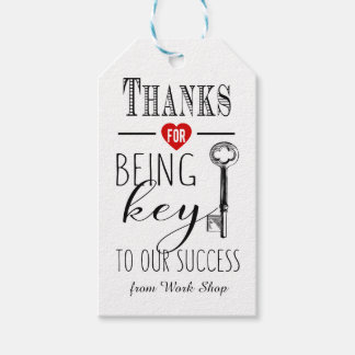 thank you for being key to our success add  logo gift tags