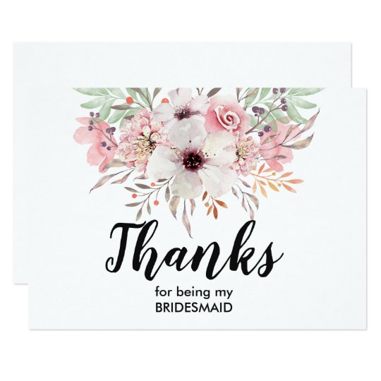 thank you for being my bridesmaid card floral zazzle co uk