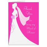Thank you for being my Maid of Honour - Pink Greeting Card