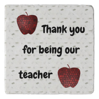 Thank You For Being Our Teacher Mosaic Apples Trivet