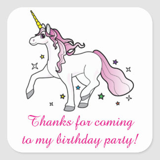 Thank You for Coming Birthday Party with Unicorn Square Sticker