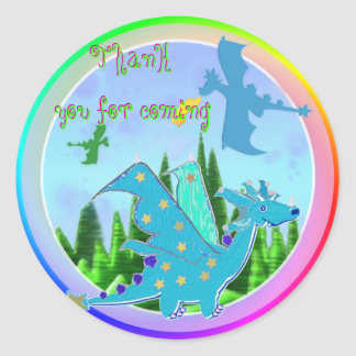 Thank You for Coming Blue Dragon Rainbow Colors Round Sticker