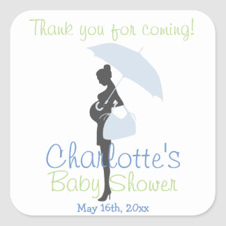 Thank You For Coming! Blue Silhouette Baby Shower Square Sticker