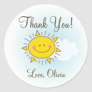 Thank You For Coming Cute Sunshine Baby Shower Classic Round Sticker