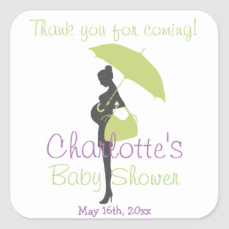 Thank You For Coming! Green Silhouette Baby Shower Square Stickers
