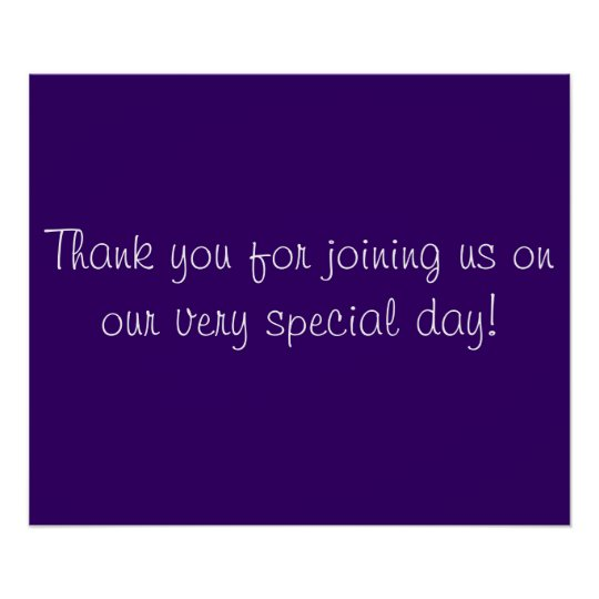 Thank you for Coming in Purple and White Poster