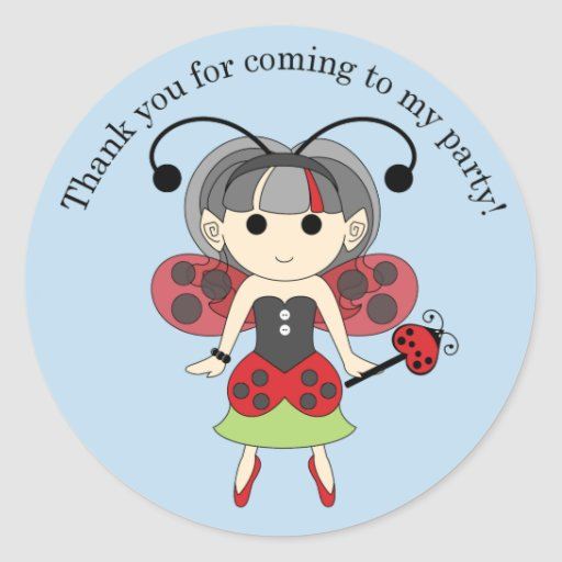 Thank You for Coming Ladybug Fairy Sticker Blue