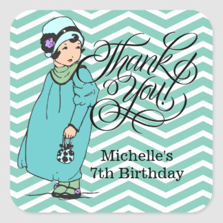 Thank You for Coming - Party Favor Girl's Birthday Sticker