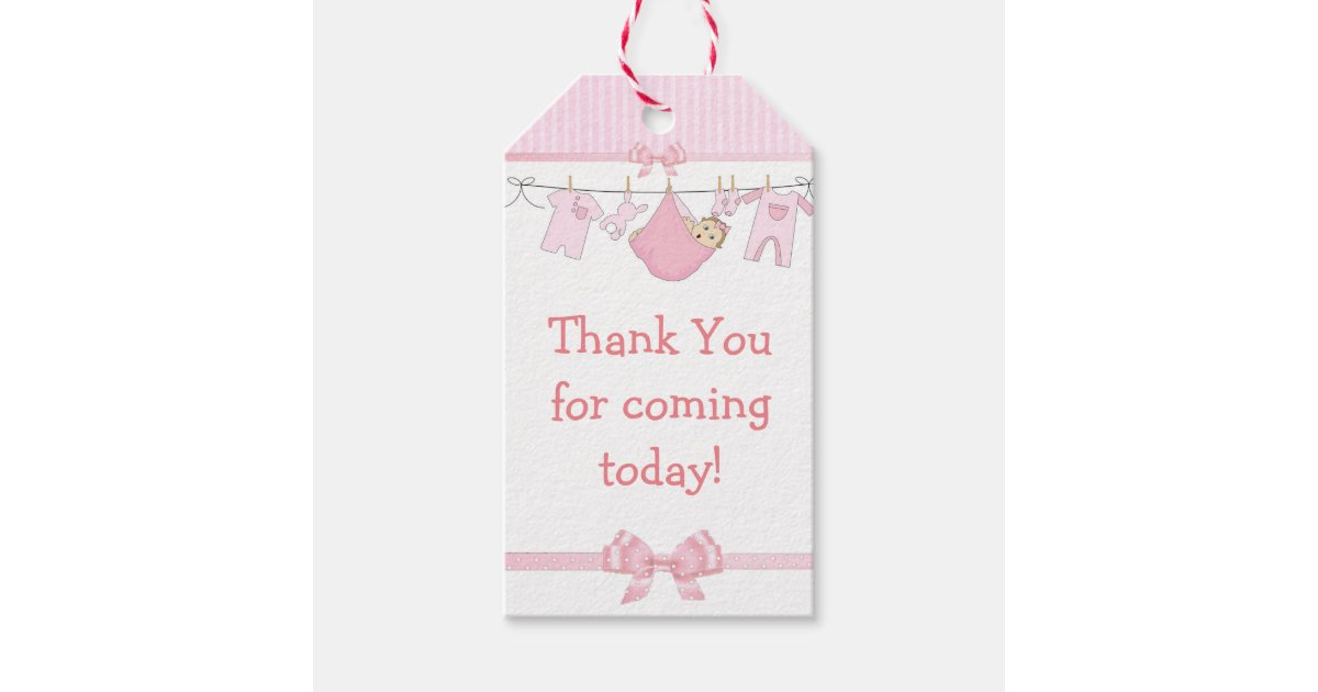 Thank You For Coming Pink Baby Shower Gift Tag Zazzle Co Uk