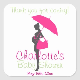 Thank You For Coming! Pink Silhouette Baby Shower Square Stickers