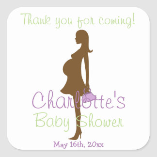 Thank You For Coming Purple Silhouette Baby Shower Square Stickers