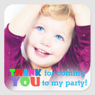 thank you for coming to my party photo square sticker