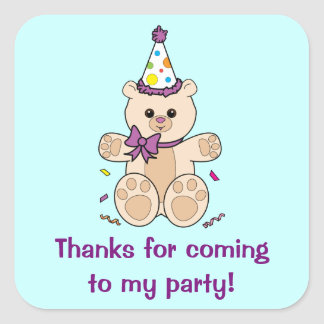 Thank you for Coming to My Party with Teddy Bear Square Sticker