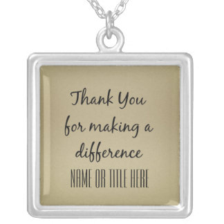 Thank you for Making a Difference Square Pendant Necklace