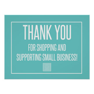 Thank you for shopping and support small business poster