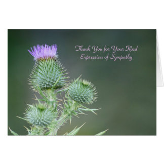 Thank You for Sympathy, Pink Purple Wildflower Card