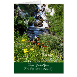 Thank You for Sympathy, Waterfall with Wildflowers Card