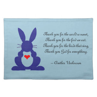 Thank You For The Food We Eat - Child's Grace Placemat
