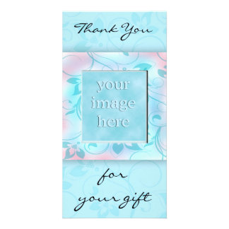 Thank you for the gift -blue photo card template