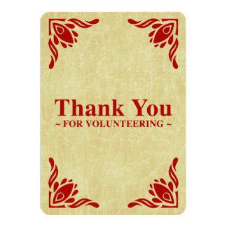 thank you for volunteering 13 cm x 18 cm invitation card