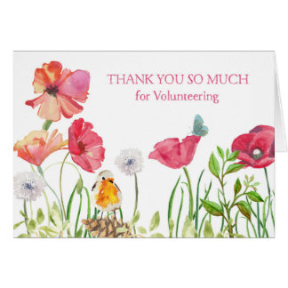 Thank You for Volunteering - Watercolor Nature Greeting Card