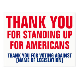Thank You for Voting Against Legislation Template Postcard
