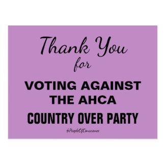 Thank You For Voting Against the AHCA Resistance Postcard