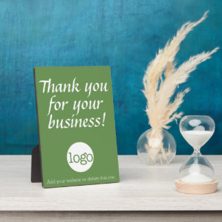 Thank you for your business with logo - green display plaques