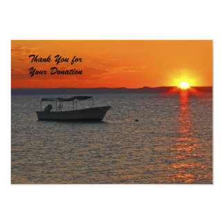 Thank You for Your Donation, Sunset Fishing Boat 13 Cm X 18 Cm Invitation Card