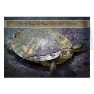 Thank You For Your Help And Support - Turtle Gecko Greeting Card
