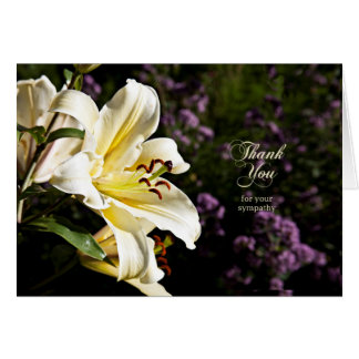Thank you for your sympathy, with white lily greeting card