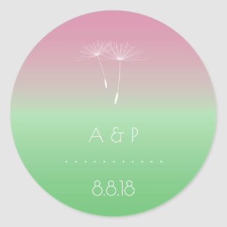 Thank You Forest Wedding  Pastel Ombre Dandelion Classic Round Sticker