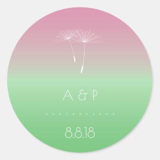 Thank You Forest Wedding  Pastel Ombre Dandelion Round Sticker