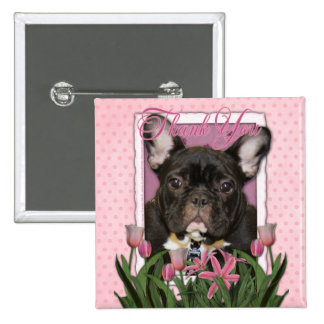 Thank You - French  Bulldog - Teal 15 Cm Square Badge