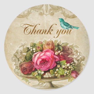 Thank You French Inspired Round Stickers
