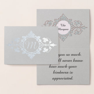 Thank You from family, intricate scroll monogram Foil Card