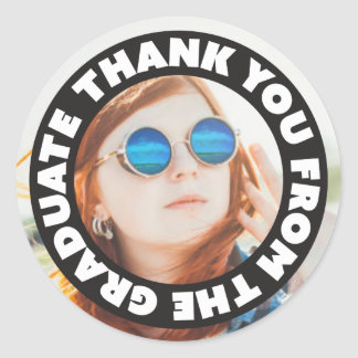 Thank You From The Graduate Round Sticker