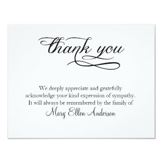 Thank You Funeral Thank You Note Card Behreavement  Invitation To A Funeral