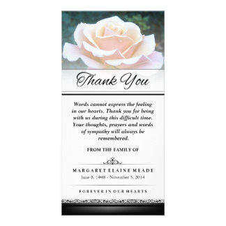 Thank You Funeral White Rose Words Cannot Express Picture Card