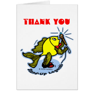 THANK YOU funny Stand-Up Fish cartoon CARD