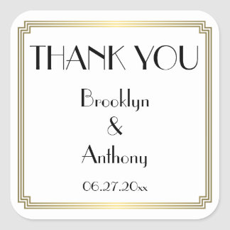 Thank You Gatsby Art Deco White Wedding Stickers