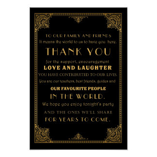 Thank you  Gatsby inspired wedding sign card Poster